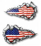 SMALL Long Pair Ripped Metal Design With American Stars & Stripes Flag Car Sticker 73x41mm each
